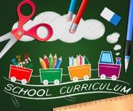 Schullehrplan, der Illustration der Bildungs-Kurs-3d zeigt Stockfoto