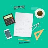 Schullektions-Studienkonzept, Bildungsgeometriemathe-Wissenschaftselemente Lizenzfreies Stockbild