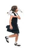 Schulmädchen laufendes Funning Lizenzfreie Stockbilder