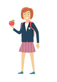 Schulmädchen lokalisierter Charakter stock abbildung