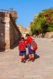 Schulmädchen an Mehrangarh-Fort Stockfoto