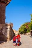 Schulmädchen an Mehrangarh-Fort Stockfotos