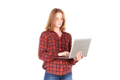 Schulmädchen mit Laptop Lizenzfreie Stockbilder