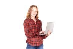 Schulmädchen mit Laptop Stockfotografie