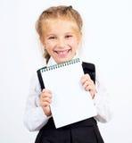 Schulmädchen mit Notizbuch Stockbilder