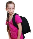 Schulmädchen mit Tasche Stockfoto