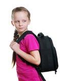 Schulmädchen mit Tasche Stockfotos