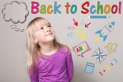 Schulmädchen zurück zu Schule Lizenzfreie Stockfotografie