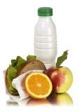 Schulmahlzeit-Apfelmilchsandwich und -orange Lizenzfreies Stockbild