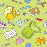 Schulmuster mit Bildungsversorgungen Stockfoto