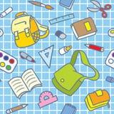 Schulmuster mit Bildungsversorgungen Stockfotos