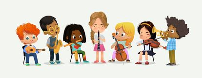 Schulorchester-Kinder spielen verschiedenes Musik-Instrument lizenzfreie abbildung