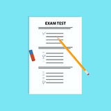 Schulprüfungstest mit Stift und Radiergummi Flache Vektorillustration Lizenzfreies Stockbild