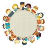 Schulschablone mit Kindern Feld für Text Lizenzfreie Stockbilder