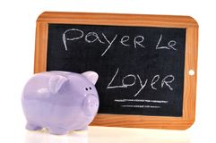 Schulschiefer auf, welchem in französische Lohnmiete geschrieben wird stock abbildung