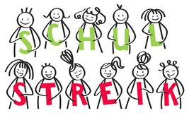 SCHULSTREIK German for School Strike, group of stick people holding green and red letters banner stock illustration
