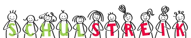 SCHULSTREIK German for School Strike, stick people holding green and red letters banner royalty free illustration
