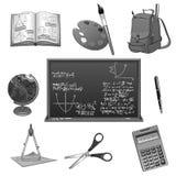 Schulstudien- oder -Bildungsvektorikonen eingestellt Stockbild