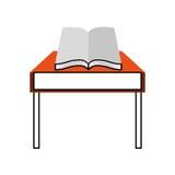 Schultabelle mit Buch lokalisierter Ikone Stockfotos