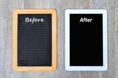 Schultafel und digitale Tablette Lizenzfreie Stockfotografie