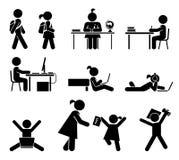 Schultage Piktogrammikonensatz Schulkinder Stockbilder