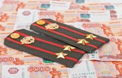 Schultergurt der russischen Armee und des Geldes Lizenzfreies Stockbild