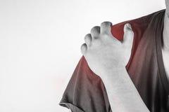 Schulterverletzung in den Menschen schultern Sie die Schmerz, die medizinischen Gelenkschmerzenleute, Monotonhöhepunkt an der Sch Stockfotografie