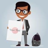 Schuluniformen für Jungen lokalisierter Charakter Karikaturpersönlichkeit Vektorabbildung auf weißem Hintergrund Moderner stilvol Lizenzfreie Stockbilder