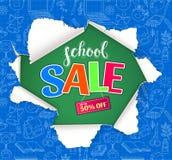 Schulverkaufsdesign mit Loch im Papier Lizenzfreie Stockfotos