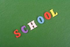 SCHULwort auf dem grünen Hintergrund verfasst von den hölzernen Buchstaben des bunten ABC-Alphabetblockes, Kopienraum für Anzeige Stockfoto