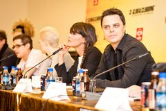 schulz för press för konferensdj markus moscow Arkivfoton
