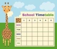 Schulzeitplan mit Giraffe Lizenzfreie Stockfotos