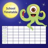 Schulzeitplan mit Karikaturmonster Lizenzfreie Stockfotos
