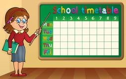 Schulzeitplan mit Lehrerin Stockbild