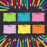 Schulzeitplan mit mehrfarbigen Bleistiften stock abbildung