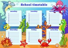 Schulzeitplan mit Seetieren Lizenzfreies Stockbild
