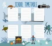 Schulzeitplan mit Unterwasserwelt lizenzfreie abbildung
