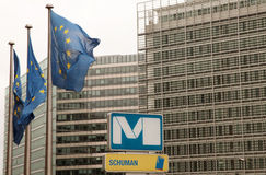 Schuman Metro Station in Brussels Stock Image