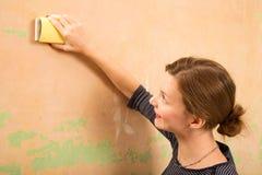 Schurende muur Stock Foto