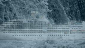 Schurken- Welle fällt auf Kreuzschiff stock video footage
