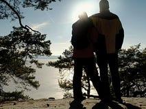 Schuss der hinteren Ansicht von den Liebespaaren, die einen romantischen Spaziergang machen lizenzfreie stockfotografie