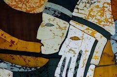 Schutters in de blokkenwagen, fragment, hete batik, achtergrondtextuur stock fotografie