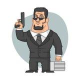 Schutz, der Gewehr und Koffer hält Stockfotografie