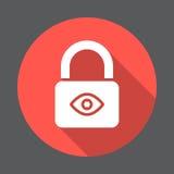 Schutz der Privatsphäre, Verschluss mit flacher Ikone des Auges Runder bunter Knopf, Kreisvektorzeichen mit langem Schatteneffekt Stockfotos