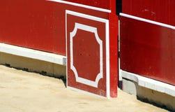 Schutz in einem Stierring der Stierkampfarena von Pamplona. Lizenzfreies Stockfoto
