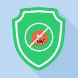 Schutz-Green Shield Icon-Antivirus Lizenzfreie Stockfotografie