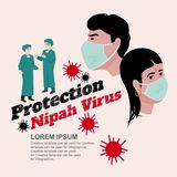 Schutz Nipah-Virusinfektion NiV ist Mensch und Tiere Lizenzfreies Stockbild