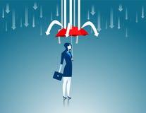 schutz Roter Regenschirm der Geschäftsfrauen die Hinderungspfeile Lizenzfreies Stockfoto