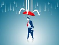 schutz Roter Regenschirm des Geschäftsmannes die Hinderungspfeile Stockbilder