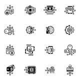 SCHUTZ-Technologie-Ikonen Bitcoin und Blockchain Schlüssel Stockfoto